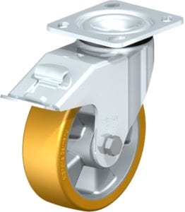 6'' Pressed steel top plate swivel caster, heavy duty Extrathane wheel with stop-fix brake